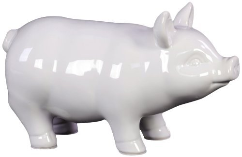 Ceramic Standing Pig Figurine SM Gloss Finish White