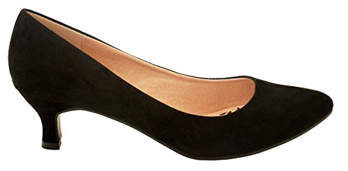 Comfort Plus Ladies Womens Wide Fit Memory Foam Patent Formal Slip On Kitten Heel Party Office Work Court Shoes - Sizes UK 3-8 Black Suede gArthRf