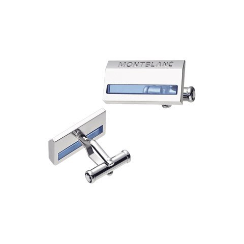 Montblanc Jewellery Silver Collection Cuff Links Large Rectangular Ag 925 with Blue Quarts Inlay 38086