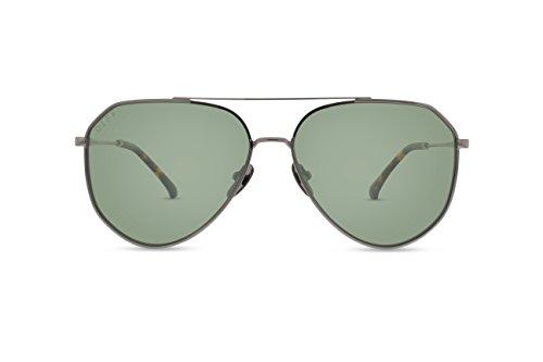 DIFF Eyewear Dash Metal Modern Aviator Polarized Womens Designer Sunglasses Light Gunmetal - Sunglasses Diff