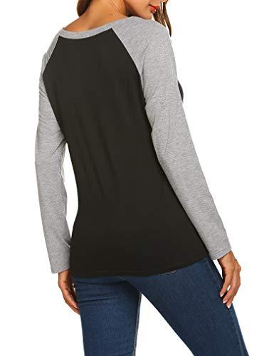 96362a9868bb3 Locryz Womens V Neck Raglan Long Sleeve Shirts Casual Blouse Tshirts ...
