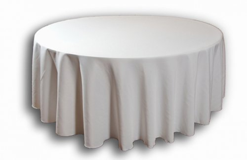 White 108R Round Banqueting Polyester Tablecloth Wedding Reception ... by Event Decor