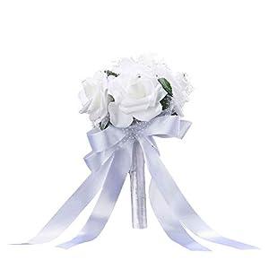 Calixdlf Wedding Bouquet, Artificial Rose Flower with Rhinestone Soft Silk for Bridal Bridesmaid Wedding Flower Party Church (White) 94