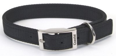 Coastal Pet Double-Ply Nylon Dog Collar (Black, 18 Inch L x 1 Inch W)