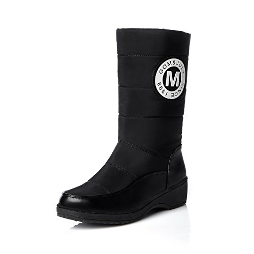 on Leather Bottom Thread Girls Pull Wave BalaMasa Imitated Carved Black Boots Pattern qBHzW0w