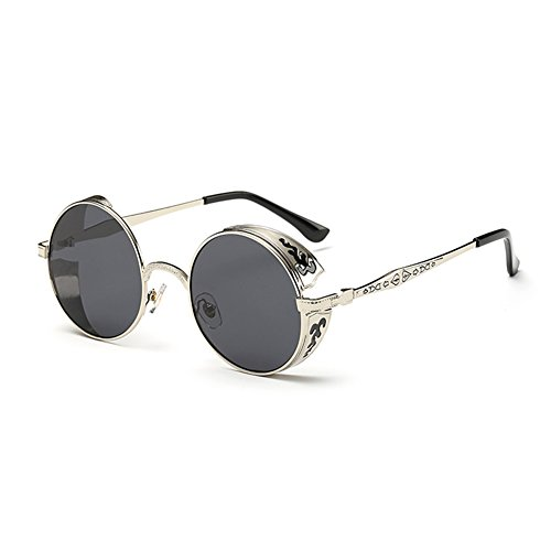 Coolsunny Vintage Hippie Retro Metal Round Circle Frame Sunglasses CS1039 (New Silver-Gray, - Shop Sunglasses For