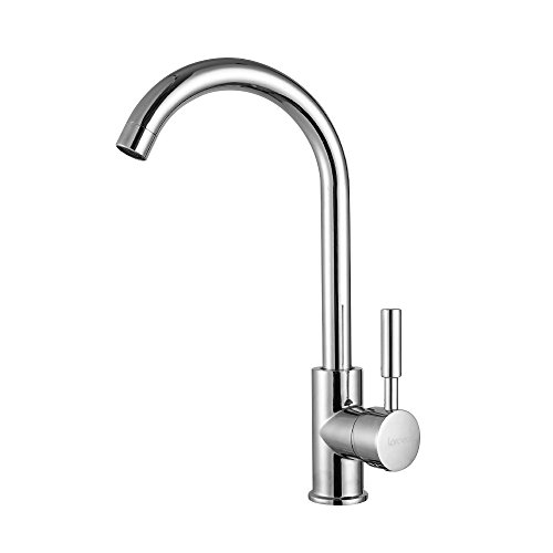 LORDEAR Modern Commercial Cold Hot Mixer Chrome Finish Single Handle Stainless Steel Touch On Kitchen Faucet, Single Hole Simple Bar Faucet