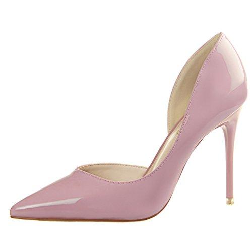 HooH Women's Sexy Pointed Toe D'Orsay Stiletto Dress Pump Pink TSc7S3Eo2