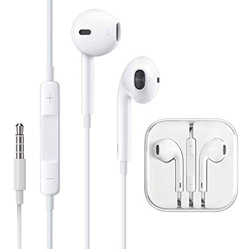 3.5mm Aux Headphones/Earphones/Earbuds Wired Headphones Noise Isolating Earphones with Built-in Microphone & Volume Control Compatible with Samsung/Huawei/Android/iPhone 6 SE 5S 4 iPod iPad