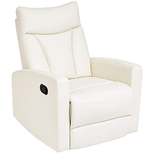 JC Home Javik Swivel Glide Recliner with Faux-Leather Upholstery, Creamy White - Leather Like Glider Recliner