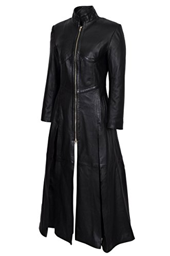 Smart Range mujer Nuevo Matrix Negro Suave Cuero de cuerpo entero Gótico largo Chaqueta de Rock