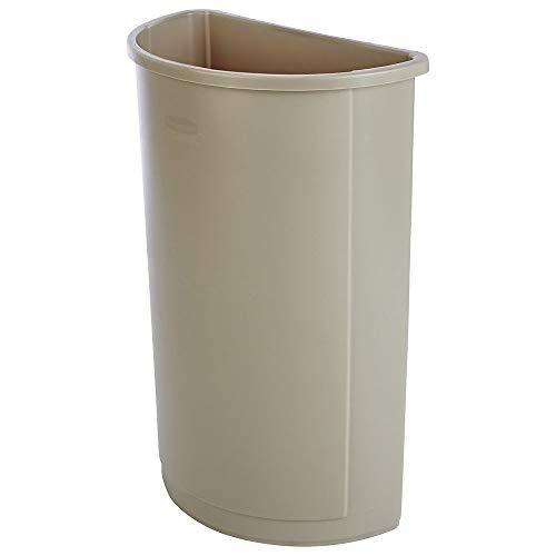 RCP3520BEI - Untouchable Waste Container, Half-round, Plastic, 21 Gal, Beige