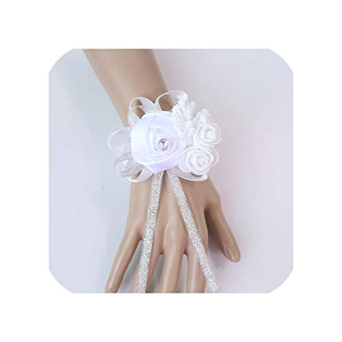 Wedding Decoration Mariage Roses Wrist Corsages Hand Flowers Silk Lace Pe Foam Artificial Brides Bridesmaid Wrist -