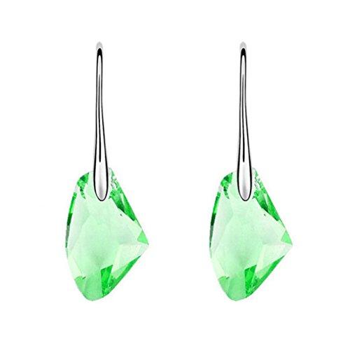 Dangle Earrings,Caopixx New Crystal Rhinestone Earrings Wedding Party Ear Studs Earrings for Women 2018 (Green, alloy)