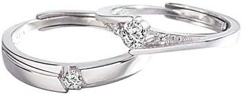 Silber 925 Ringe Partnerringe 3/5 MM Verstellbar Solitärring Zirkonia Verlobung Ringe für Sie und Ihn