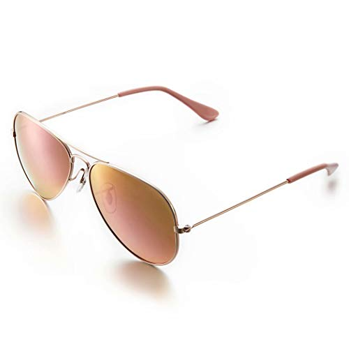 AHT Classic Aviator Sunglasses For Women - Polarized UV Protection Mirrored Lens Rose gold, Retro Shades