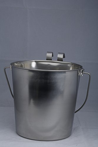 Indipets Heavy Duty Flat Sided Stainless Steel Pail, 6-Quart