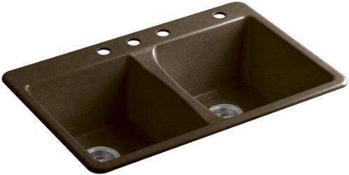 KOHLER K-5873-4-KA Deerfield Top-Mount Double-Equal Bowl Kitchen Sink with 4 (Black Deerfield Kitchen Sink)