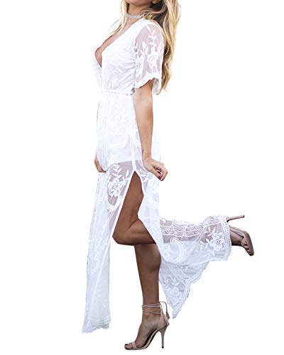 BBYES Women's Sexy Deep V-Neck Lace Romper Short Sleeve Long Dress Sheer Maxi Dresses White XL