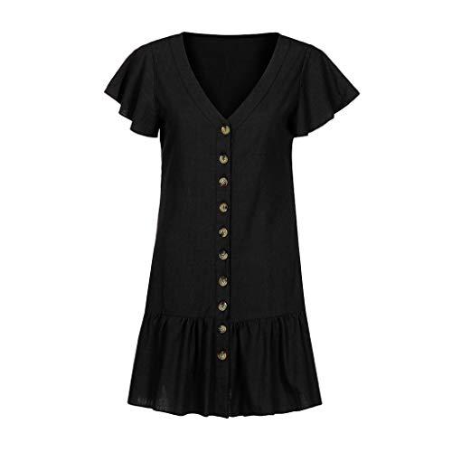 Womens Casual Mini Dress Solid V-Neck Flare Sleeve Chemise Button Maxi Boho Sundress (5XL, Black)
