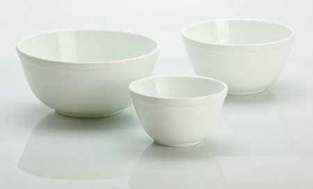 3 Piece Set Handmade White Milk Glass Mixing Nesting Bowls