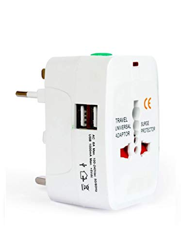 Nv05 Universal Adaptor Worldwide Travel Adapter with Built in Dual USB Charger Ports Chargers 250V Surge/Spike Protected Electrical Plug