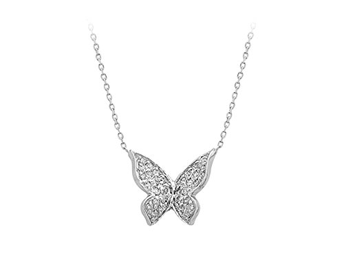 - Diamond Stone Butterfly Necklace in 18K Gold