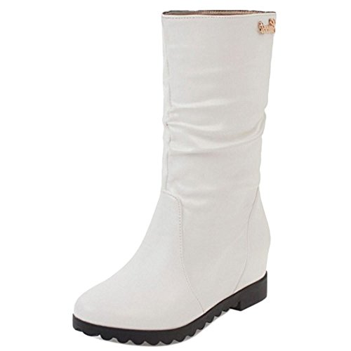 COOLCEPT Damen Bequeme Niedrige Stiefel Pull On with Height Increasing White