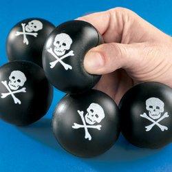 Mini Skull & Cross Bones Relaxable Balls (2 Dozen) - - Ball Squishy Skull