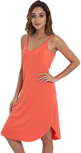NEIWAI Womens Full Slip Spaghetti Chemise Nightgown Cami Dress Peach Pink L