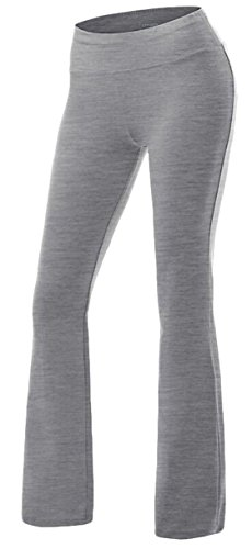 Bootcut Cotton Trousers (Youhan Women's Slim Fitted Stretchy Bootleg Cotton Yoga Pants (Medium, Gray))