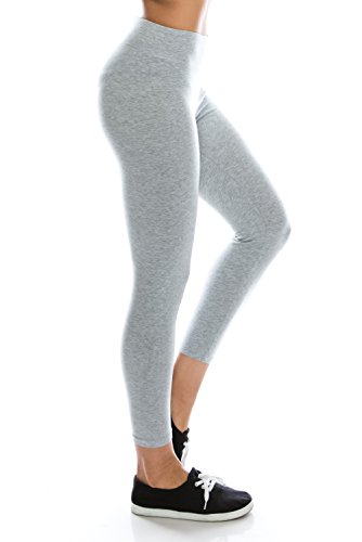 Cotton+Spandex+Basic+Knit+Jersey+Capri+Leggings+for+Women+H.Gray+L
