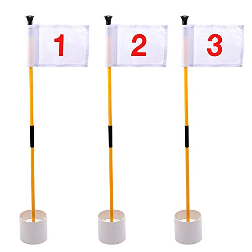 KINGTOP Golf Flags for Yard, Putting Green Pin Flags, Portable Golf Flagsticks with Hole Cup Set, 3 Feet