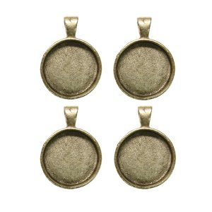 - 1inch Round Silver Plated Deep Pendant Plates - 4 Pack