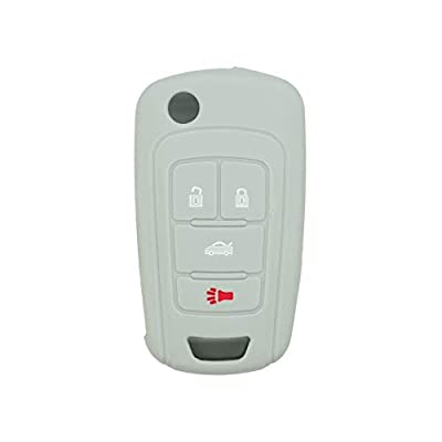 SEGADEN Silicone Cover Protector Case Skin Jacket fit for BUICK CHEVROLET 4 Button Flip Remote Key Fob CV9601 Gray: Automotive