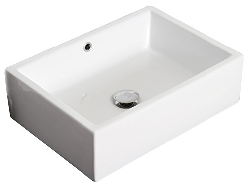American Imaginations AI-3-1299 Above Counter Rectangle Vessel for Deck/Wall Mount Faucet, 20-Inch x 14-Inch, White