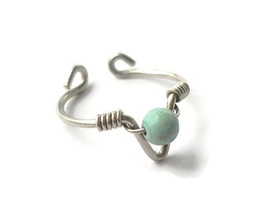 Toe-Midi-Knuckle Ring Adjustable size Light Turquoise Wrapped 925 Sterling Silver Wire Arrow