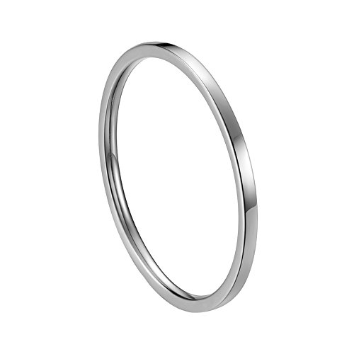 INRENG Women's Stainless Steel 1MM Thin Plain Midi Stacking Ring Band Comfort Fit Silver Size 8