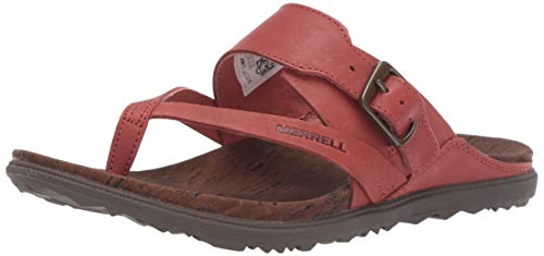 Merrell Women's Around Town Luxe Buckle Thong Slipper, Redwood, 07.0 M US (Best Sandals In The World)