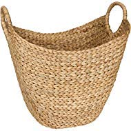 Seagrass Storage Basket by West Dwelling - Large Water Hyacinth Wicker Basket / Rattan Woven Basket with Handles - Storage Baskets for Blankets - Shoe, Towel, Laundry Basket or Decorative -