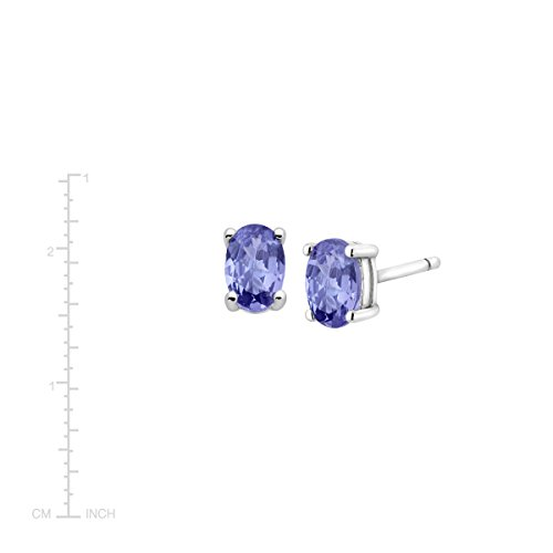 1 ct Natural Tanzanite Oval Stud Earrings in Sterling Silver by Finecraft (Image #2)