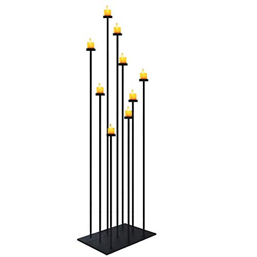 smtyle DIY 9 Candelabra Floor 70 inch Tall Candle Holders Centerpiece for Wedding Decor Using Tealight Set Large with Black Iron