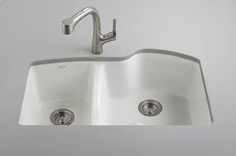Kohler K 5870 5U 96 Wheatland Undercounter Offset Double Basin Sink With  Five