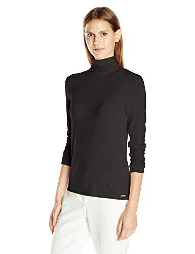 Calvin Klein Women's Liquid Jersey Turtleneck, Black, Medium