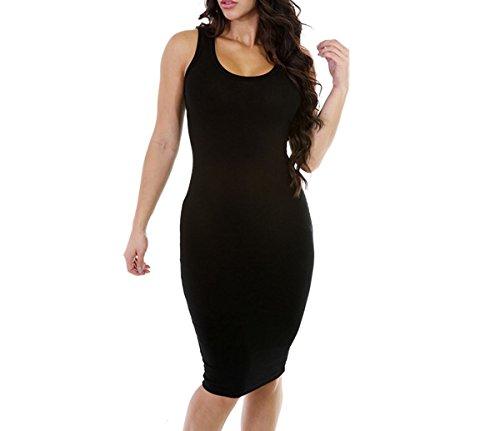 Strap Sexy Dress Black Women Sleeveless Bodycon Solid Clubwear Base Mini dIZOwUZq