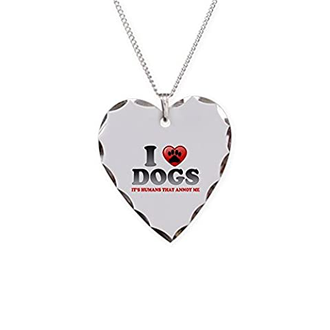 Necklace Heart Charm Love Dogs It's Humans That Annoy Me - Boston Brass Pendant