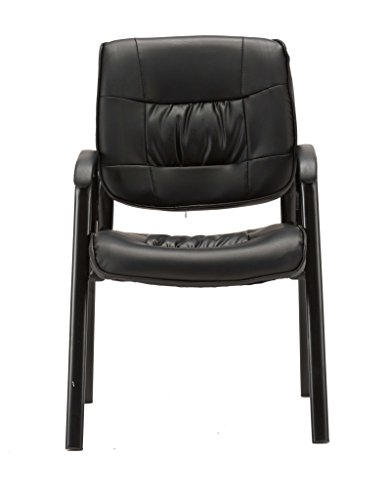 BTEXPERT Premium Leather Office Executive Waiting Room Guest/Reception Side Conference Chair, Black by BTEXPERT