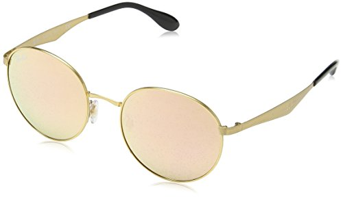 Ray-Ban METAL MAN SUNGLASS - GOLD Frame BROWN MIRROR PINK Lenses 51mm - Pink Round Mirror Metal Ban Ray