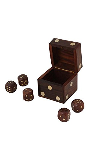 CRAFT ART INDIA Dice|Game|Set|Box|Board|Holder|Indoor|Outdoor|Wooden|Size(Inch):2.5x2.5x2.5