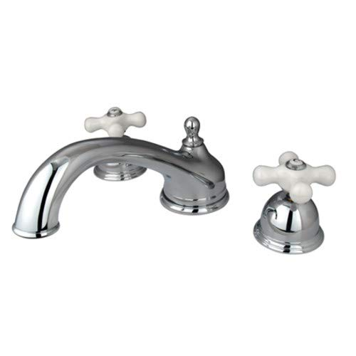 Elements Of Design ES3351PX Double Handle Deck Mounted Roman Tub Filler with Porcelain Cross Handles from the Chicago Collection